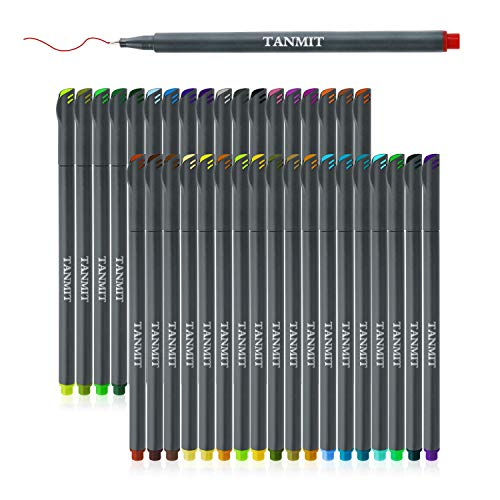 TANMIT Fineliner Bullet Journal Set Tip Drawing Pens Porous Fine Point Makers for Adult Coloring Books Writing Noting Calendar Marking Art Project, 36