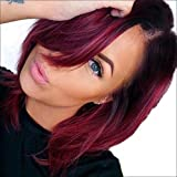 AISI Synthetic Hair Wig Short Straight Bob Wig for Woman Ombre Color Black With Red + a free wig cap