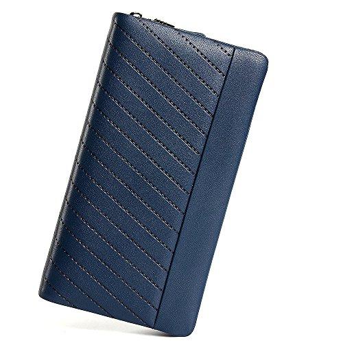 - Mn&Sue Men's Diagonal Stripe Leather OrganizerZipper Wallet Card Cash Holder Checkbook Bag Purse (Navy Blue)