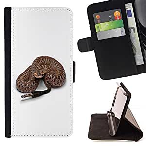 DEVIL CASE - FOR Sony Xperia Z2 D6502 - Funny Rattle Snake Speaker Plug - Style PU Leather Case Wallet Flip Stand Flap Closure Cover