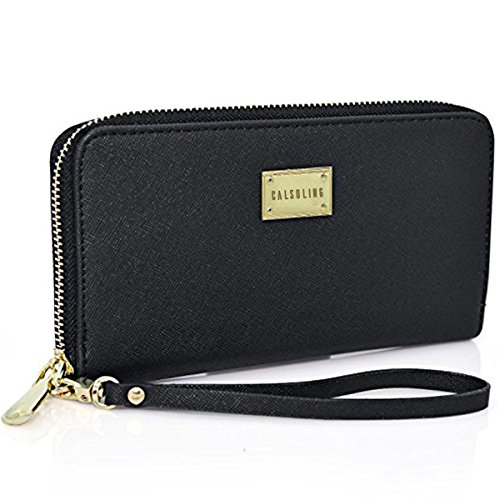 Women Wallet PU Leather Zipper Long Purse Credit Card Clutch Holder Strap Handbag by Calsoling (Image #7)