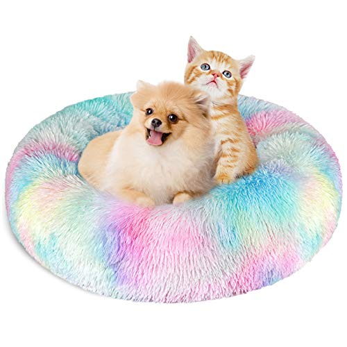 KROSER Donut Dog Cat Bed 23.6 Inch Self-Warming & Washable Puppy Bed Deluxe Round Soft Plush Pet Bed for Small Dogs and Cats