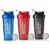 blender bottle 2 pack - BlenderBottle 28oz Classic Loop Top Shaker Bottle 3-Pack, Full Color Blue/Black/Red