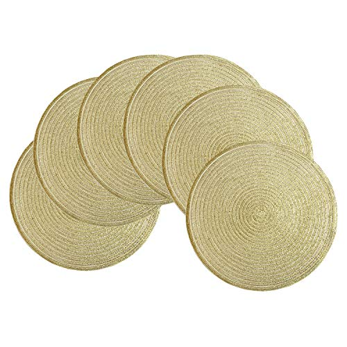 SHACOS Round Braided Placemats Set of 6 Bling Placemats Table Mats for Holiday Party Wedding Glitter Place Mats (6, Gold)