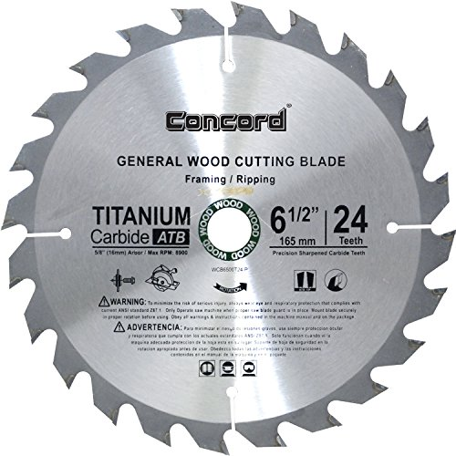 Concord Blades WCB0650T024HP 6-1/2-Inch 24 Teeth TCT General Purpose Hard & Soft Wood Saw Blade