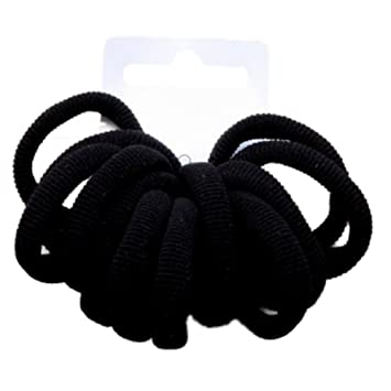 Amazon.com   Black Small Soft Endless Fabric Hair Elastics Bobbles Hair  Bands - Set of 12   Beauty 639922548e3