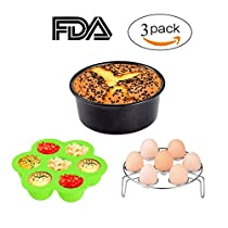 Instant Pot Accessories 3pcs,KINDEN,Silicone Egg Bites Mold with lid+Egg Steamer Rack+ 7 inch Round Removable Bottom Non-Stick Cake Pan for 5 6 8 Quart Pressure Cooker