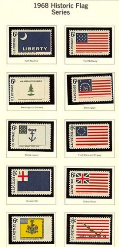 USA 10 Commemorative Stamps, MNH, Issued 1968: Historic Flag Series