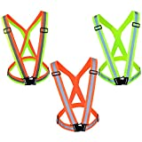 Adjustable Safety Vest, Miayon 3pcs High Visibility Vest Strap Lightweight Bright Vest for Cycling Jogging Walking Motorcycle Riding Horse