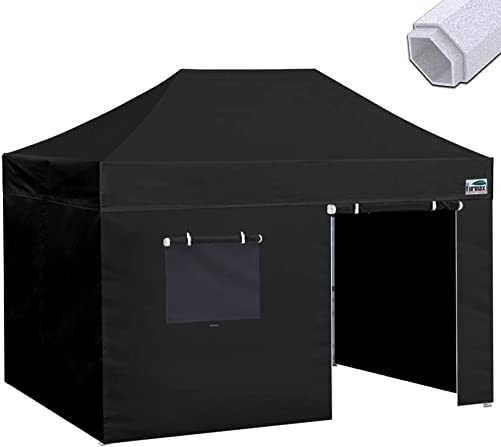 Eurmax Premium 10×15 Pop up Canopy Instant Canopies Outdoor Party Tent Shade with 4 Removable Enclosure Zipper End Sidewalls Walls and Roller Bag Black