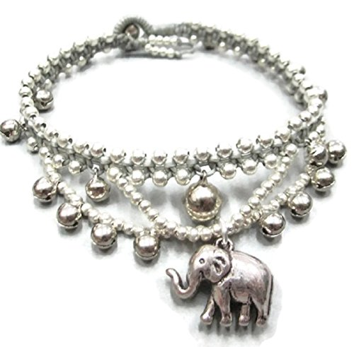 Hot! 100% Handmade Thailand Casual Gypsy Elephant Silver Color Bead Cascade Anklet for Party, Wedding, Birthday, Anniversary, Gift, Daily Wearing and - Sunglasses Swaroski