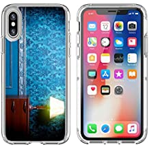 MSD Apple iPhone X Clear case Soft TPU Rubber Silicone Bumper Snap Cases iPhoneX IMAGE 29680660 Vintage lamp in retro blue toned interior Rococo fashion decor Rustic wallpapper Luxurt concep