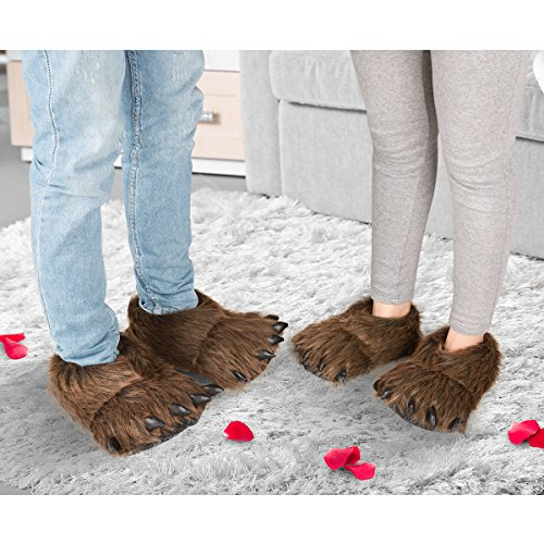 Boys Bear Claw (Claws Shoes Costume Plush Slippers Plush Bear Paw Slippers Animal Costume Shoes Novelty Slippers Faux Fur Monster Claws House Slippers 10 Inches Brown By HollyHOME)