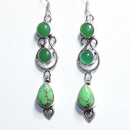 Jasper, Green Onyx Earring Silver Overlay Fashion Jewellery Vintage Designer Statement Prom Jewelry Dangle Bohemian 2.90 Inch For Gift ()