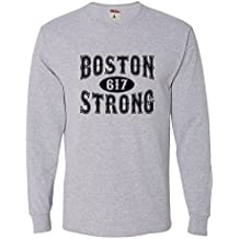 Go All Out Screenprinting Adult Boston Strong 617 Long Sleeve T-Shirt