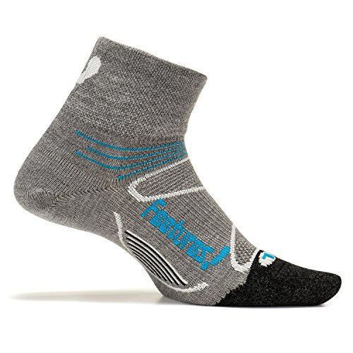 Feetures! Men's Elite Merino+ Ultra Light Quarter, Gray + Hawaiian Blue, Medium