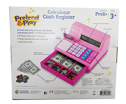 Learning Resources Pretend & Play Calculator Cash Register, Classic Counting Toy, 73 Pieces, Ages 3+, Easter Gifts for Kids, Pink