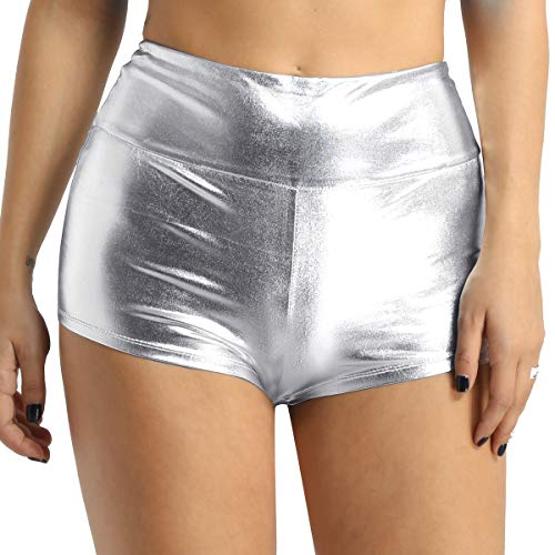 iEFiEL Womens Sexy Shiny Stretchy Metallic Liquid Wet Look High Waist Dance Rave Booty Shorts Hot Pants (XXL, Silver) -