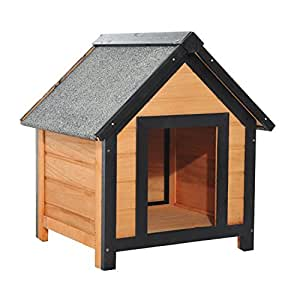 PawHut–Caseta para perros de exterior con tejado inclinado de madera de abeto impermeable 56x 60,5x 66cm