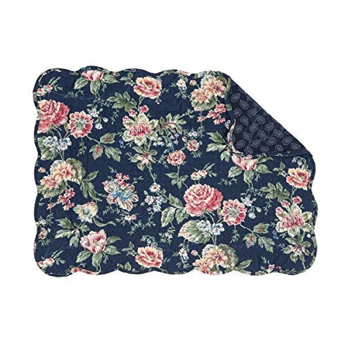 C&F Home Myra Navy Blue Floral Flower Place Mats Rectangular Cotton Quilted Reversible Washable Placemat Set of 6 Rectangular Placemat Set of 6 -