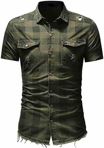Mens Shirts Short Sleeve Casual with Pockets Plaid Shirts Rugular Fit Soft Shirt by Nevera