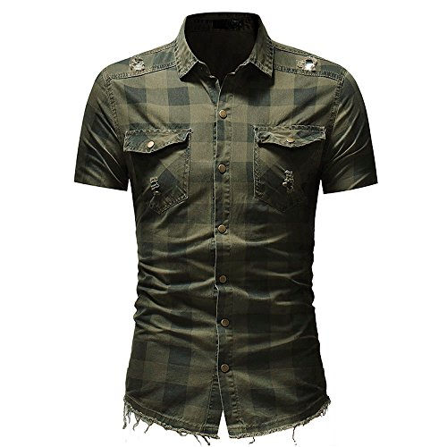 Mens Shirts Short Sleeve Casual with Pockets Plaid Shirts Rugular Fit Soft Shirt by Nevera Army Green