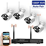 Wireless Security Camera System,SMONET 4CH 1080P Video Security System,4pcs 720P Bullet IP Cameras,Support Motion Detection Alarm & Remote View by IOS or Android App,No Hard Drive