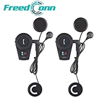 FreedConn FDCVB Bluetooth Motorcycle Helmet Speakers Headphones with Fitting Accessories - Crystal Clear Voice at High Speed for 2-3 People Intercom (Dual of Soft wire, waterproof,range 500m)