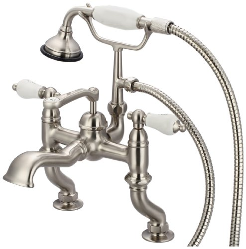 Water Creation F6-0004-02-PX Vintage Classic Adjustable Center Deck Mount Tub Faucet with Handheld Shower - Mount Bathtub Faucet Porcelain Cross