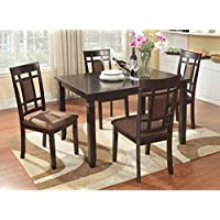 Roundhill Furniture 5 Piece Inworld Dining Set, Dark Cherry