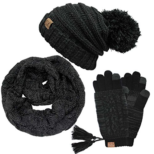 Hatsandscarf CC Exclusives [11% DISCOUNT for SET] Oversized Slouchy Pom Beanie/Scarf/Glove 3 Set (HAT-6242P-3SET) (Black/Grey Set)