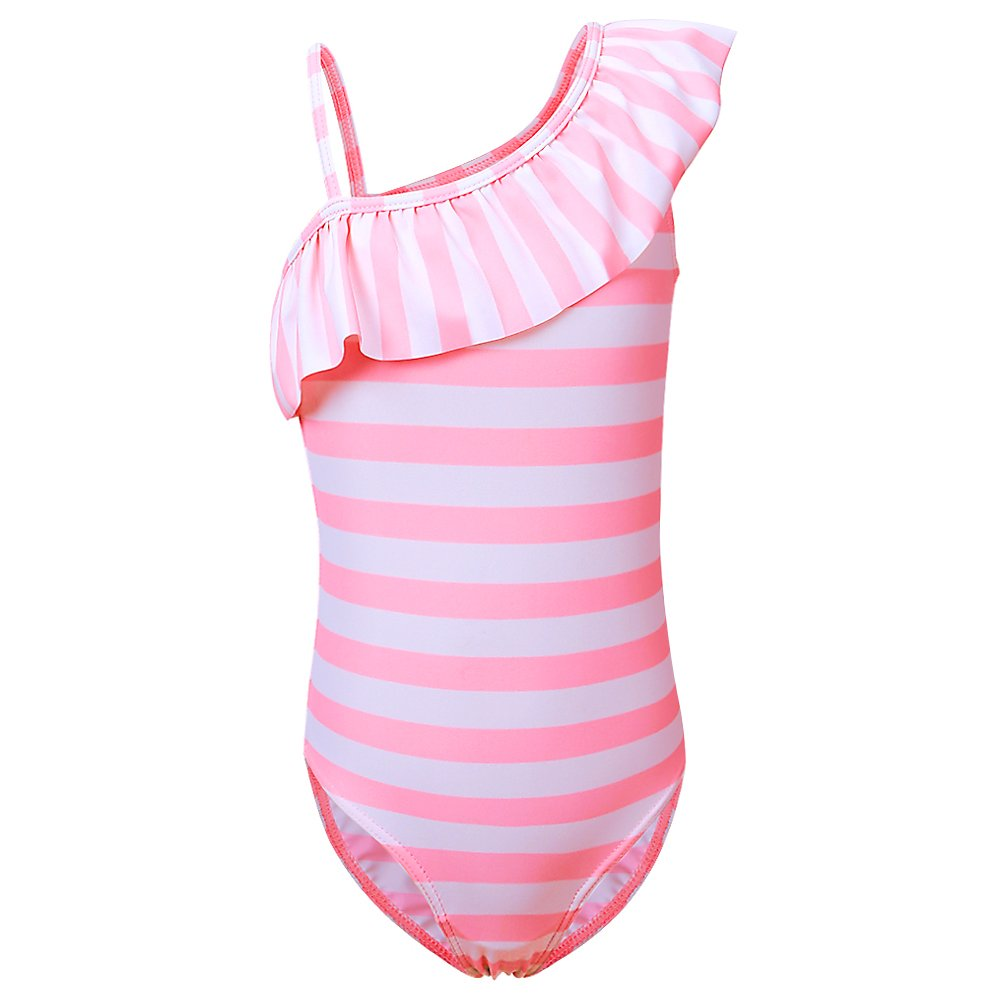 284fb5375e Fabric: 4- way stretch,skin-friendly & soft fabric,quick drying and  lightweight design,comfortable to wear. Pink/Stripes: One shoulder swimsuit  with bright ...