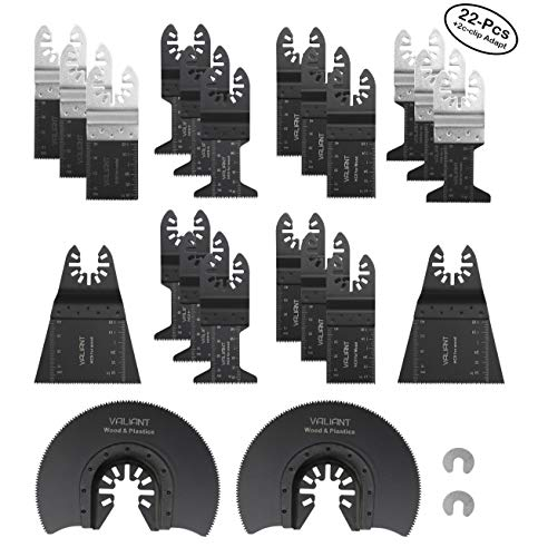 Oscillating Multi Tool Blades for Wood, Metal and Plastic – 22 Piece Set – Includes 2 C-Clip Adapters – Quick Release Oscillating Saw Blades by Valiant (22 Pack) -