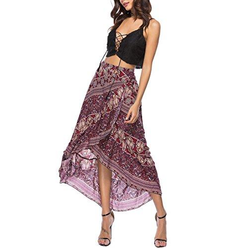 Ai.Moichien Femmes Bohème Plage Vin Rouge Jupe Vacances Floral Print Lace Up Plissé Haut-Bas Hem Jupes Longues Robe