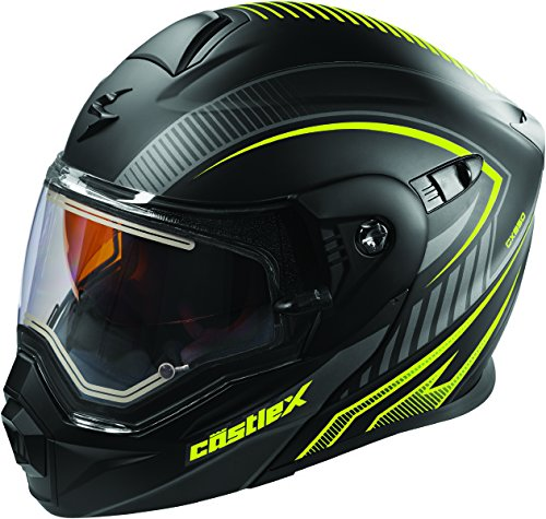 Castle X EXO-CX950 Apex Electric Modular Snowmobile Helmet Black/Hi-Vis 2XL ()