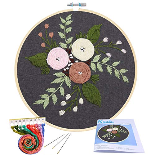 Full Range of Embroidery Starter Kit with Pattern, Kissbuty Cross Stitch Kit Including Embroidery Cloth with Floral Pattern, Bamboo Embroidery Hoop, Color Threads and Tools Kit (Black Roses 3)
