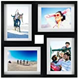 Malden Black Plastic 4-Opening Puzzle Collage Picture Frame, 5 by 7-Inch
