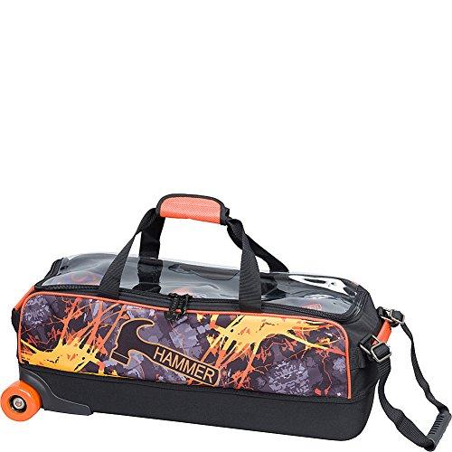 Hammer Bowling Products Dye Sub Triple Fire Bowling Bag, - Ball Bag Hammer Bowling 3