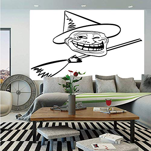 Humor Decor Huge Photo Wall Mural,Halloween Spirit Themed Witch Guy Meme LOL Joy Spooky Avatar Artful Image,Self-Adhesive Large Wallpaper for Home Decor 108x152 inches,Black White ()