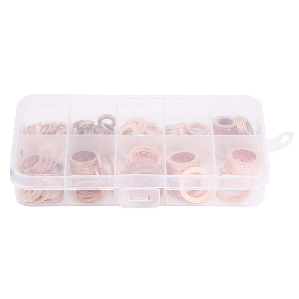Copper Sealing Washer 200pcs 200//150Pcs Copper Sealing Washers Solid Gasket Flat Kit Set for Maintenance Requirement
