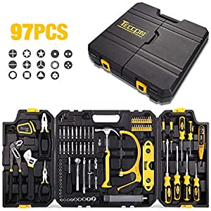 Tool Set, TECCPO 97PCS Household Tool Kit, Hand Tool Kit with Hammer, Wrenches, Precision Screwdriver Set, Pliers, Flex Shaft, Acccessories and Toolbox-THTC02H- Best Gift for Home