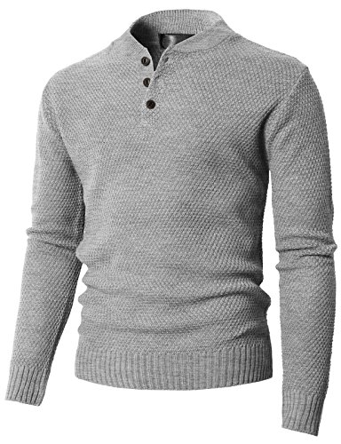 H2H Men's 100% Pure Cashmere Button Mock-Neck Polo Collar Sweater Pullover Gray US M/Asia L (KMOSWL0202) ()