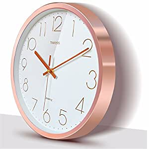 Fashion simple clocks and watches creative living room quiet bedroom clock 22.5CM, rose gold
