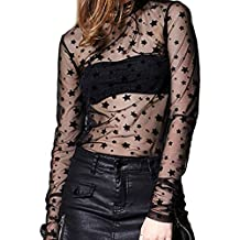 Ariely Chevaliers Women's Sexy Clubwear Mesh Sheer See Through Long Sleeve Tops Shirts Blouse Stars Hollow