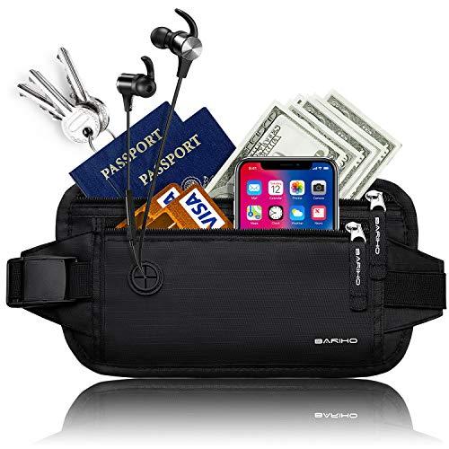 BARIHO Travel Money Belt Wallet,Hidden Waist Secure Fire Blocking Passport Holder,Ideal Comfort For Men and Women
