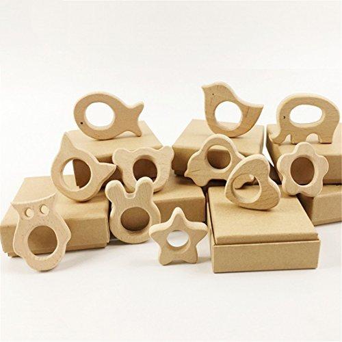 Wooden Teether 11pc Nature Baby Teething Toy Organic Eco-friendly Wood Teething Holder Nursing Wood animal Baby Gift
