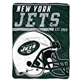 The Northwest Company 1 Pc, New York Jets Blanket 46x60 Micro Raschel 40 Yard Dash Design Rolled, Acrylic & Polyester, Extra Warm & Superior Durability, Easy Care, Machine Washable & Dryable