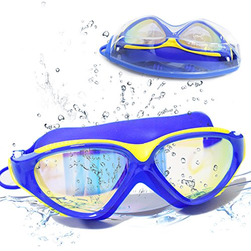 Large Frame Swim Goggles, Colorful Plated Swimming Glasses with Anti-Fog, UV Protection, Free Protection Case, Fit for Teenagers Adult Men Women - Eyewear Prices Salt