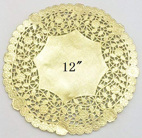 PEPPERLONELY 12 Inch Gold Round Lancaster Paper Doilies 50 -