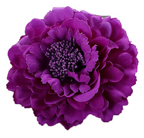 Floral Fall Peony Flower Hair Clip Flamenco Dancer Pin up Flower Brooch HC-01 (Purple)